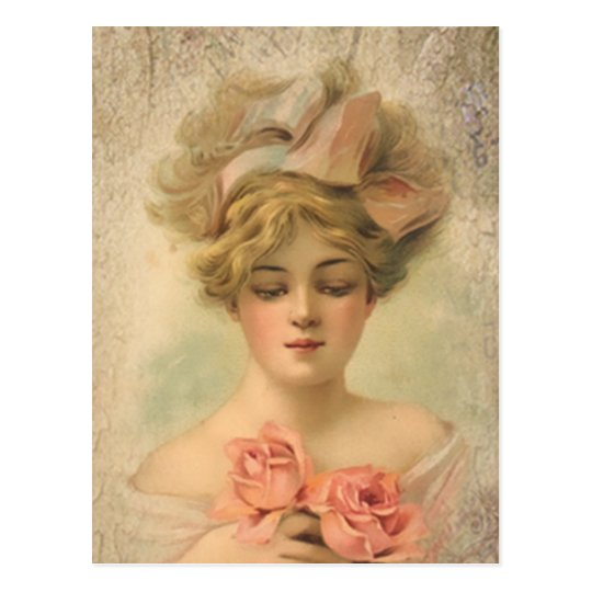 Classic Victorian Lady With Roses Postcard
