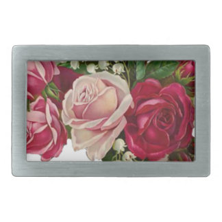 Classic Victorian Roses Lily of the Valley Romance Rectangular Belt Buckle