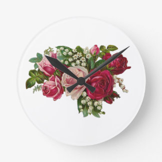 Classic Victorian Roses Lily of the Valley Romance Round Clock