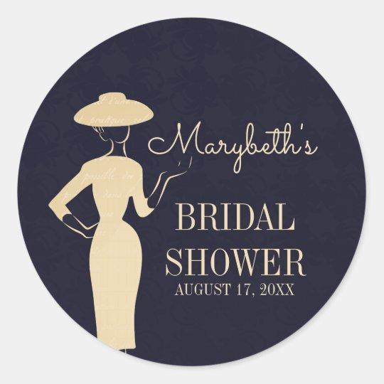Classic Vintage 50's Fashion Bridal Shower Sticker