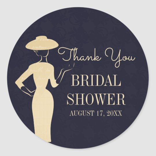 Classic Vintage 50's Fashion Bridal Shower Sticker