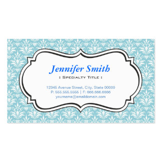 Classic Vintage Aqua Blue Damask - Simple Elegant Business Card Template