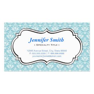 Classic Vintage Aqua Blue Damask - Simple Elegant Pack Of Standard Business Cards