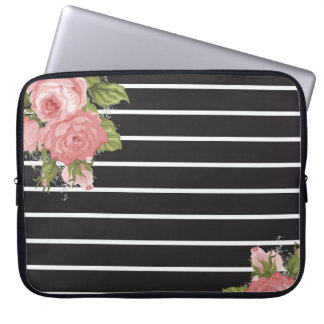 Classic Vintage black and white stripe laptop case