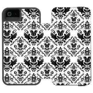 Classic Vintage Black White Damask Pattern Incipio Watson™ iPhone 5 Wallet Case