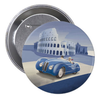 Classic Vintage Blue Race Car 7.5 Cm Round Badge