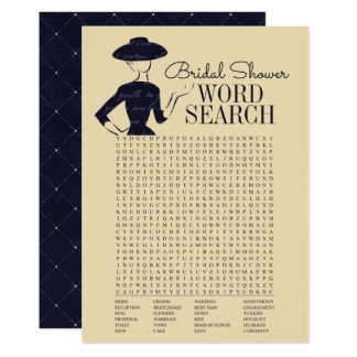 Classic Vintage Bridal Shower Word Search Card