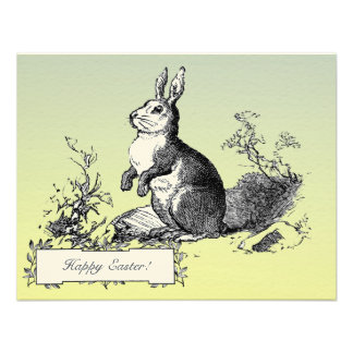 Classic Vintage Bunny Easter Greetings Blue Yellow Personalized Announcement