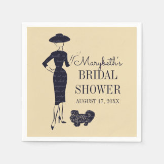 Classic Vintage Fashion Bridal Shower Paper Napkin