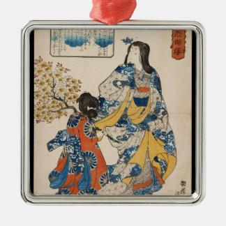 Classic vintage geisha ukiyo-e Utagawa scroll Metal Ornament