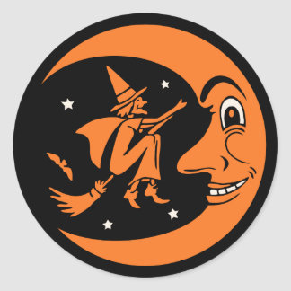 Classic Vintage Halloween Moon and Witch Classic Round Sticker
