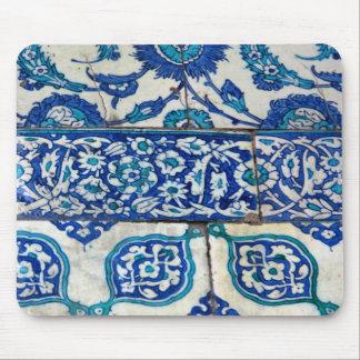 Classic Vintage iznik blue and white tile patterns Mouse Pad