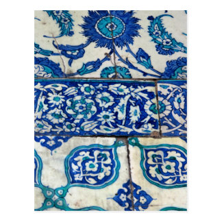 Classic Vintage iznik blue and white tile patterns Postcard