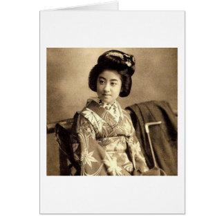 Classic Vintage Japanese Sepia Toned Geisha 芸者 Card