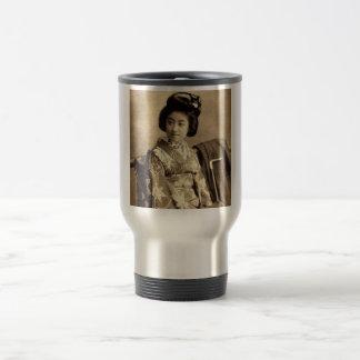 Classic Vintage Japanese Sepia Toned Geisha 芸者 Travel Mug