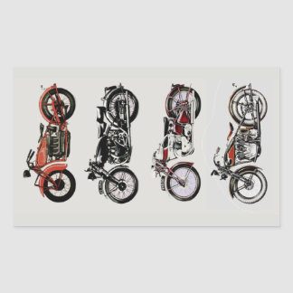 CLASSIC VINTAGE MOTORCYCLES Red Black Grey Rectangular Sticker