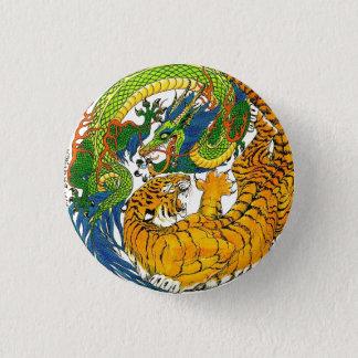 Classic Vintage oriental Yin Yang Dragon Tiger art 3 Cm Round Badge