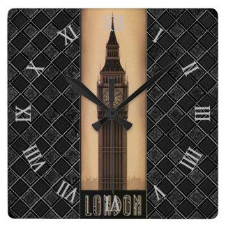 Classic Vintage Retro London Big Ben Designer Square Wall Clock