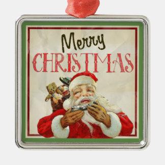 Classic Vintage Santa Claus Christmas Metal Ornament