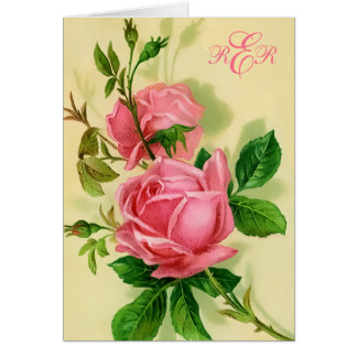 Classic Vintage Style Pink Roses Note Card