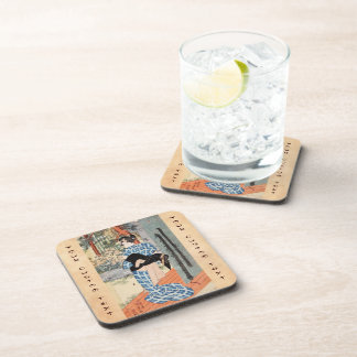 Classic vintage ukiyo-e japanese geisha Utagawa Drink Coaster