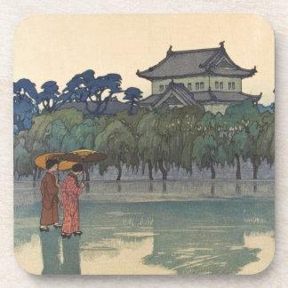 Classic vintage ukiyo-e japanese rainy scenery art coasters