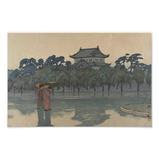 Classic Vintage Ukiyo-e Japanese Rainy Scenery Art Poster