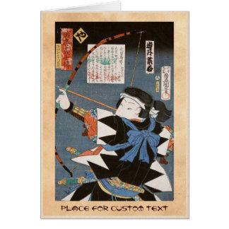 Classic vintage ukiyo-e kyudo archer Utagawa art Card