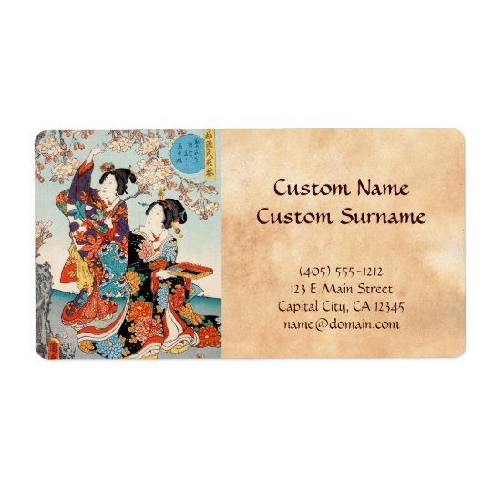 Classic vintage ukiyo-e two geishas Utagawa art