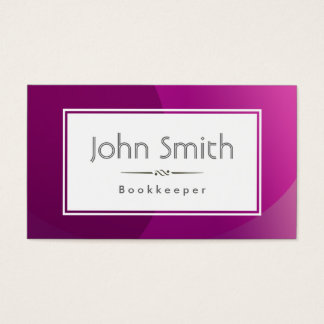 Classic Violet Background Bookkeeper Business Card