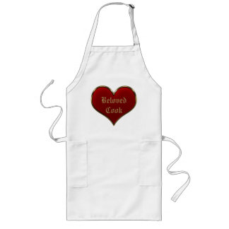 Classic Vivid Red Heart with Gold Metallic Border Long Apron