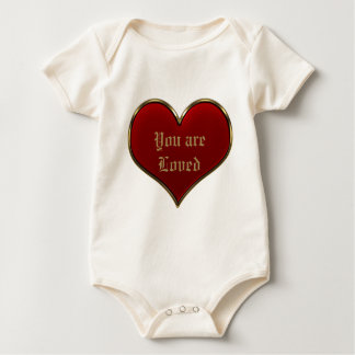 Classic Vivid Red Heart with Gold Metallic Border Baby Bodysuit