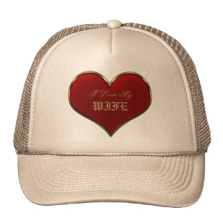 Classic Vivid Red Heart with Gold Metallic Border Cap