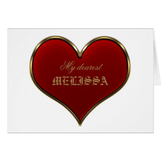 Classic Vivid Red Heart with Gold Metallic Border Greeting Card