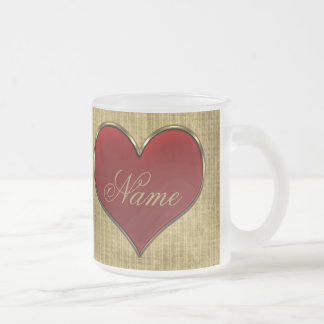 Classic Vivid Red Heart with Gold Metallic Border Frosted Glass Mug