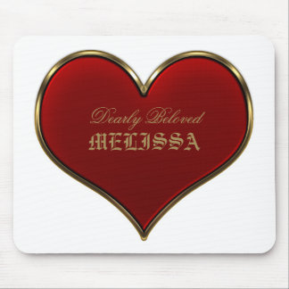 Classic Vivid Red Heart with Gold Metallic Border Mouse Pad