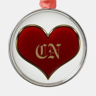 Classic Vivid Red Heart with Gold Metallic Border Silver-Colored Round Decoration