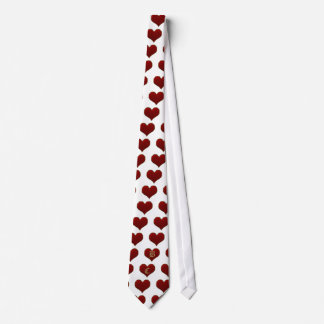 Classic Vivid Red Heart with Gold Metallic Border Tie