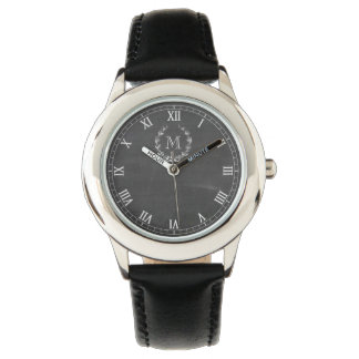 Classic Watch Face in Chalkboard with Monogram
