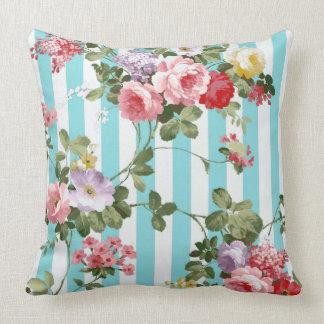 Classic Watercolor Antique Blue Stripe Cushion