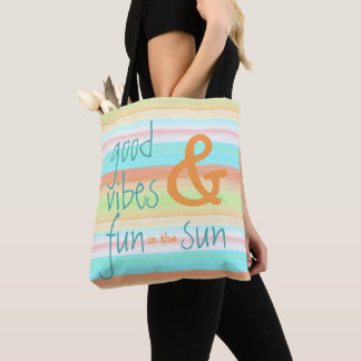 Classic Whimsical Pastel Watercolor Stripe Pattern Tote Bag