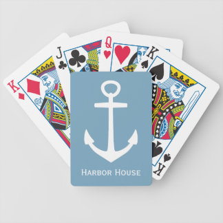 Classic White Anchor on Carolina Blue Personalized Bicycle Playing Cards