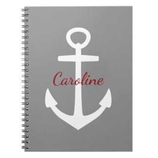 Classic White Anchor on Dove Grey Personalized Note Book