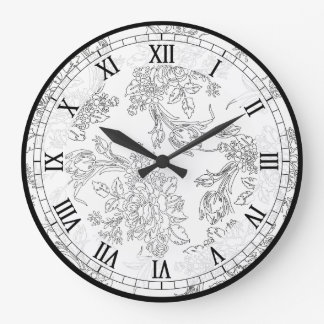 Classic White and Black Floral Toile Large Clock
