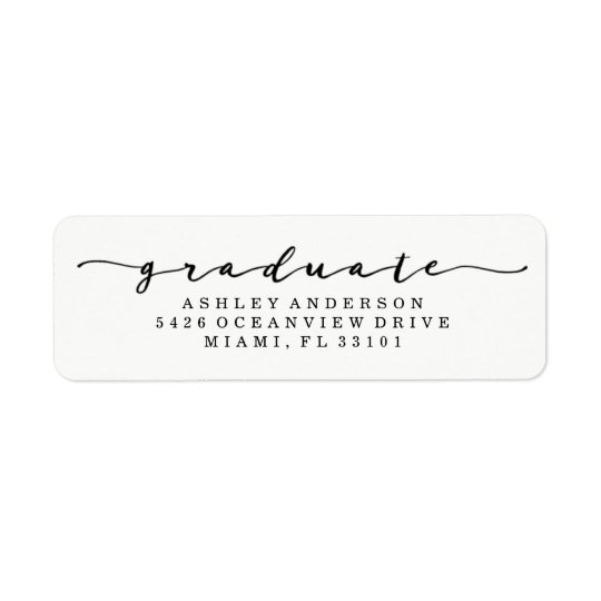 Classic White and Black Graduation Address Labels