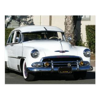 Classic White Car Postcard