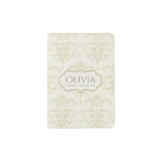 CLASSIC WHITE CREAM LEATHER DAMASK PRINT MONOGRAM PASSPORT HOLDER