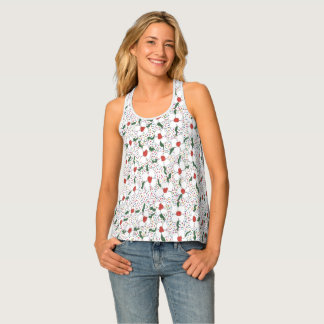 Classic White Floral Pattern Tank Top