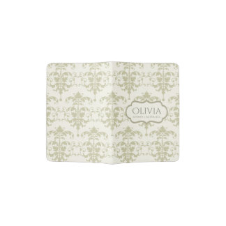 CLASSIC WHITE GREY LEATHER DAMASK PRINT MONOGRAM PASSPORT HOLDER