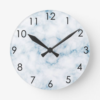 Classic White Marble w Blue Veins Round Clock